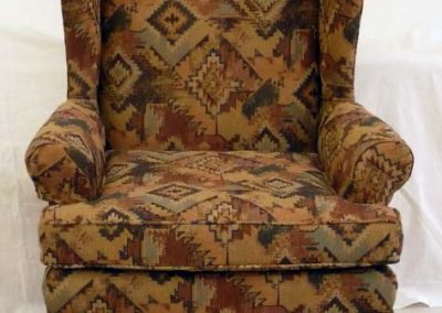 BrownPatternedWingChair