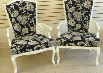 FloralWhiteWoodPairChairs